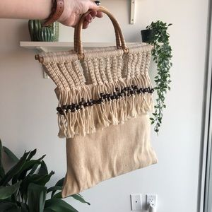 Boho canvas mini tote bag